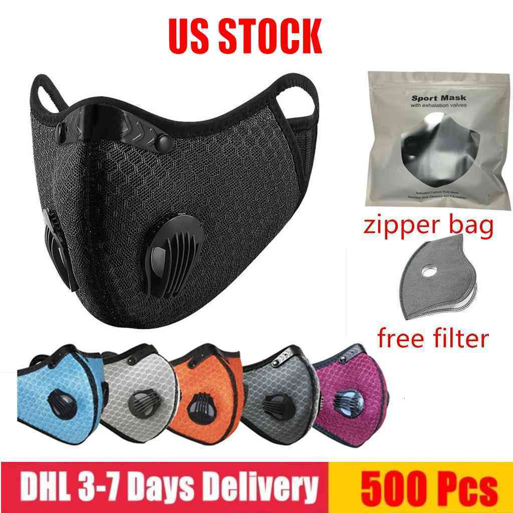 US STOCK! designer Cycling Face Mask Activated Carbon with Filter PM2.5 Anti-Pollution Sport Running Training Protection Dust Mask