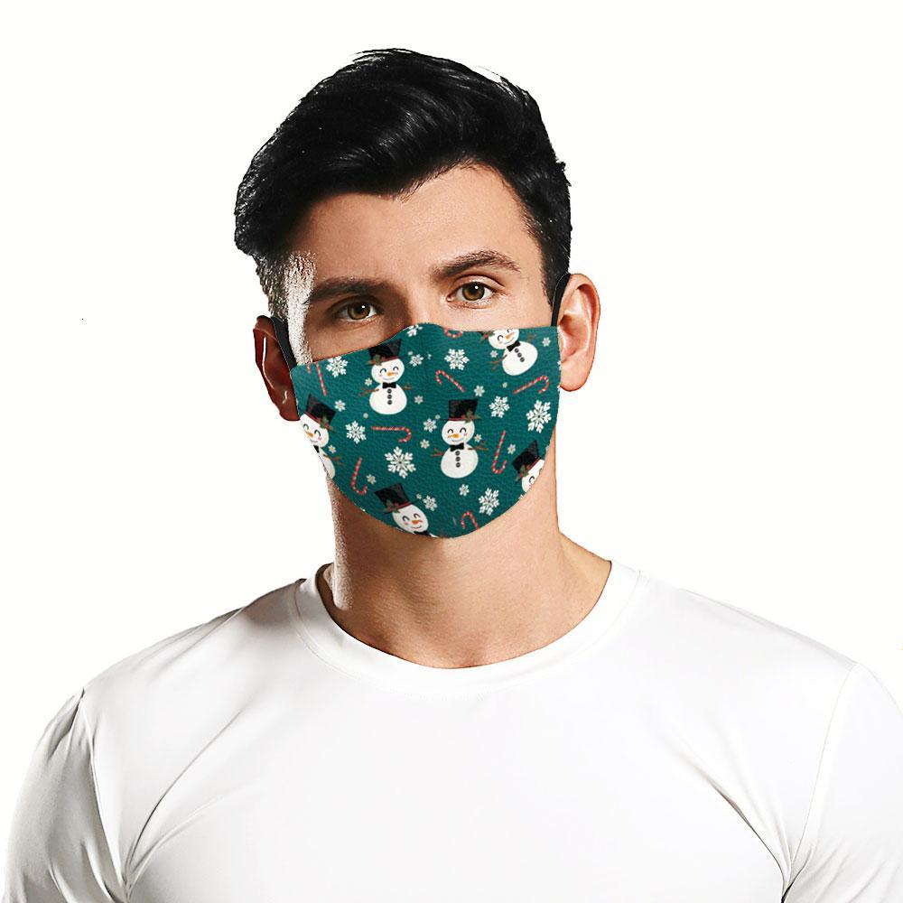 In Stock Fashion 3D HD Printing Christmas Element Pattem Face Mask Adults Reusable Protective PM2.