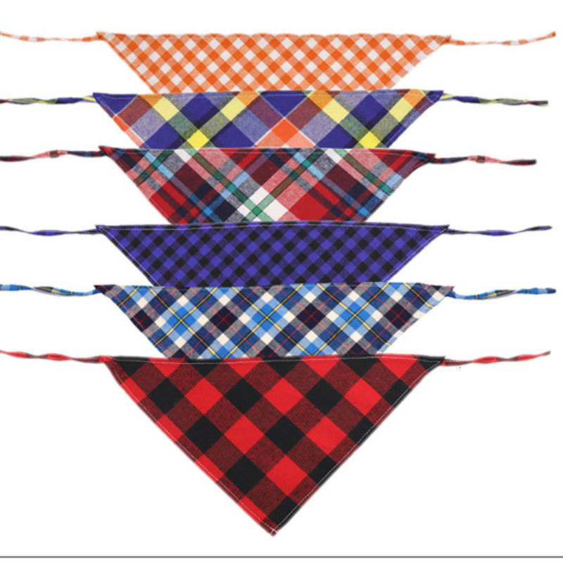 New Fashion Dog Pet Plaid Scarf Clothing Triangular Bandage Collar Cotton Scottish Saliva Towels