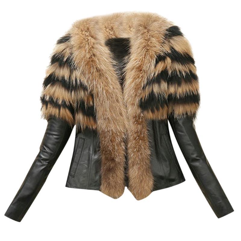 Mediados De largo Parkas Tamaño Grande Prendas de abrigo abrigo mujer imitación piel de zorro Leopardo Punk 2019