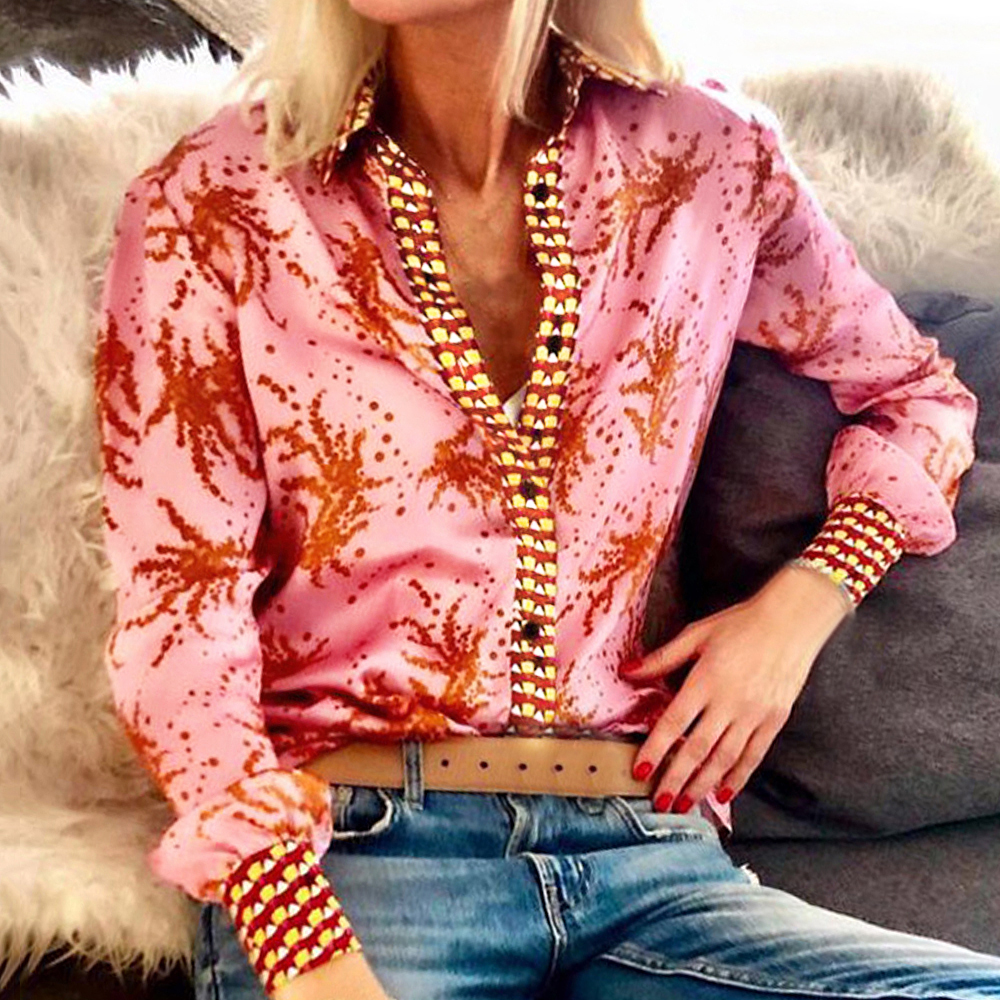 Fashion Printed Suit Collar Long Sleeve Blouse Shirt