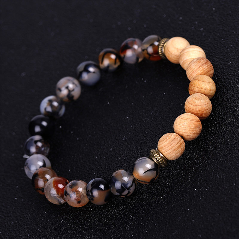 Natural stone Ice crack Agate strand bracelet Essential Oil Diffuser wood beads bracelets women men fashion jewelry will and sandy