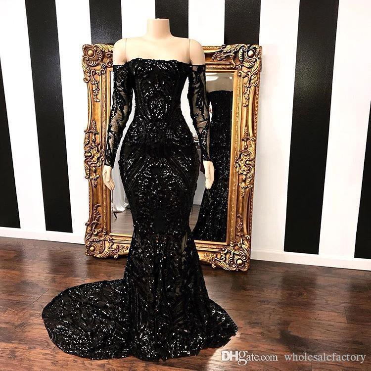 Black Off The Shoulder Sequins Long Sleeves Mermaid Evening Dresses 2019 Lace Applique Sweep Train Formal Party Prom Wear Dresses BC1454