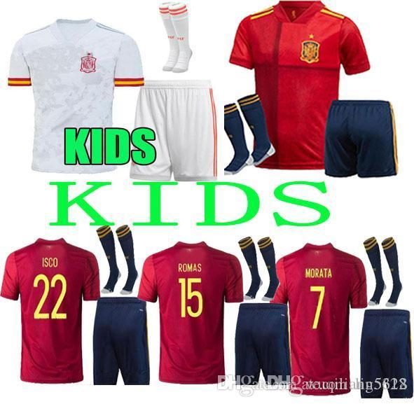 new Kids kit 2020 Spain home Away football jersey PACO ALCACER SERGIO SUSO RAMOS A.INIESTA ISCO MORATA ASENSIO SERGIO Spain soccer jersey
