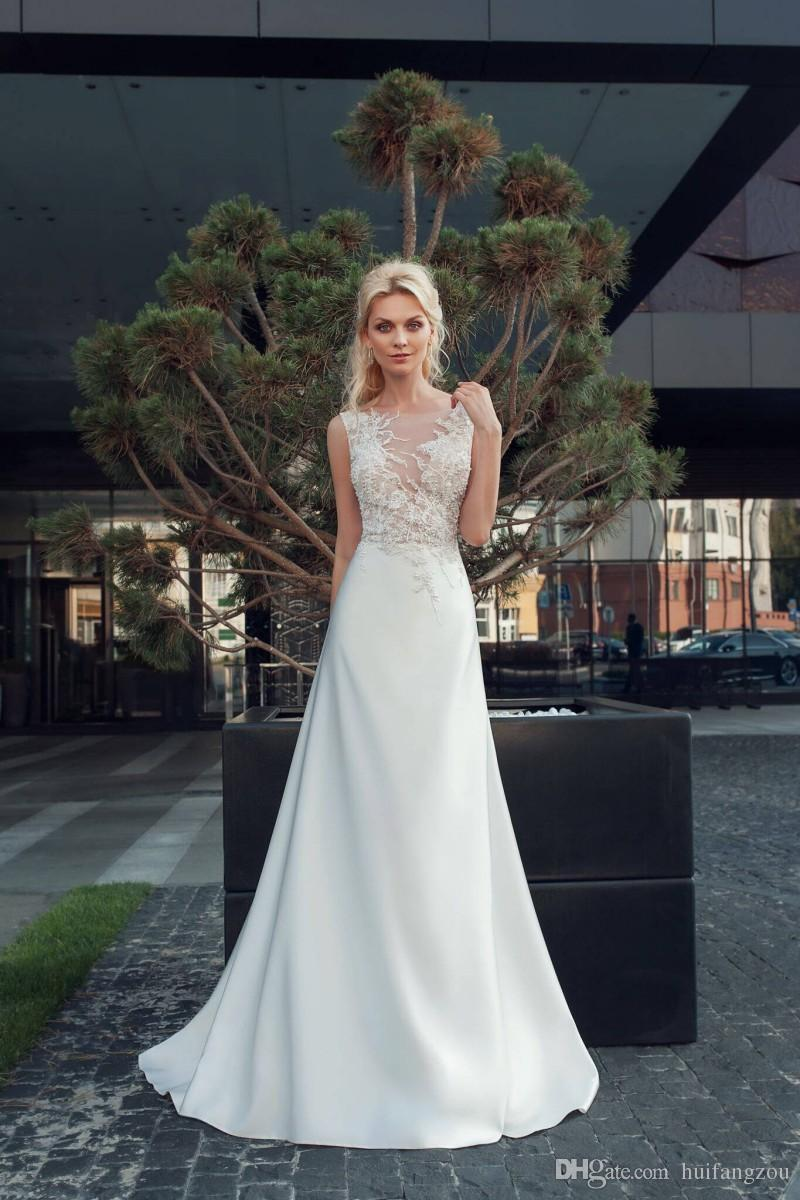 2018 Elegant Wedding Dresses Summer Sleeveless Lace Applique Beaded Satin Wedding Dress Floor Length Sexy Backless Bridal Gowns