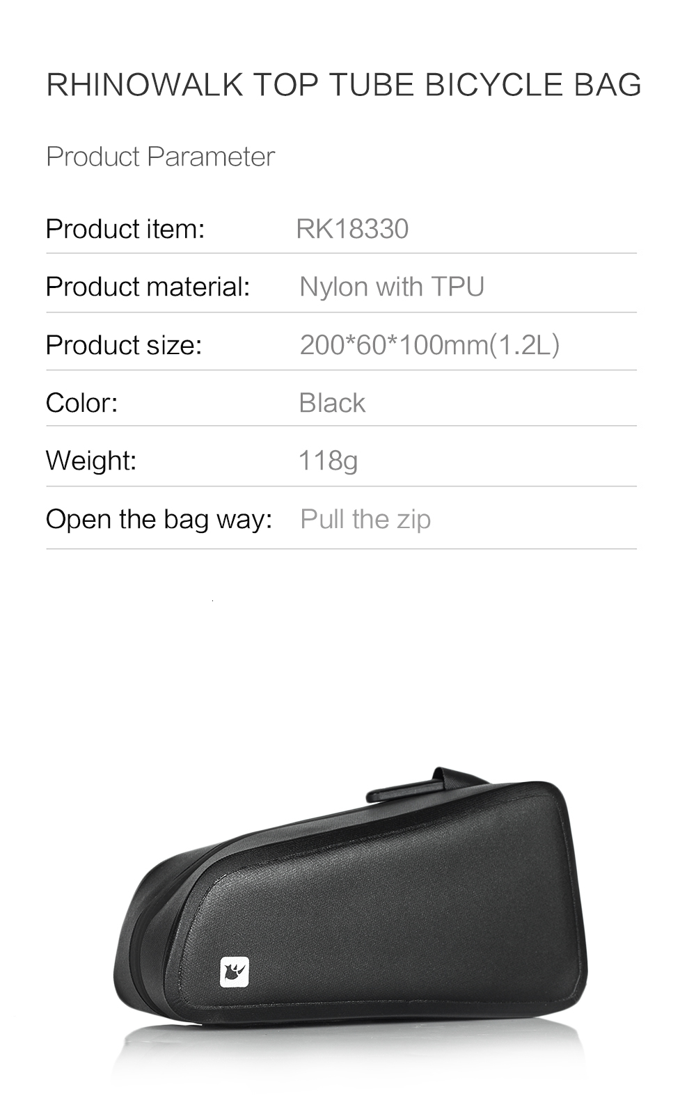 Rhinowal Bicycle Bags Waterproof Cycling Top Front Tube Frame Bag Large Capacity MTB Road Bicycle Pannier Black Bike Accessories (14)