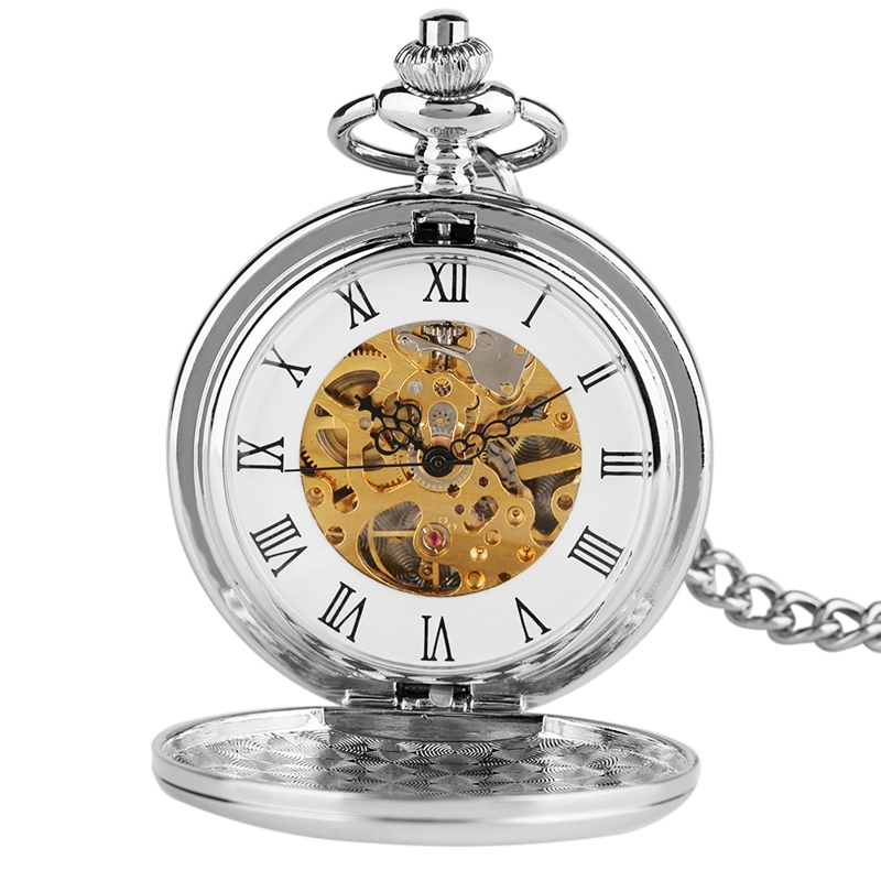 New Arrival Smooth Design Double Full Hunter Skeleton Mechanical Pocket Watch for Men Steampunk Silver Hand Winding Watches (5)