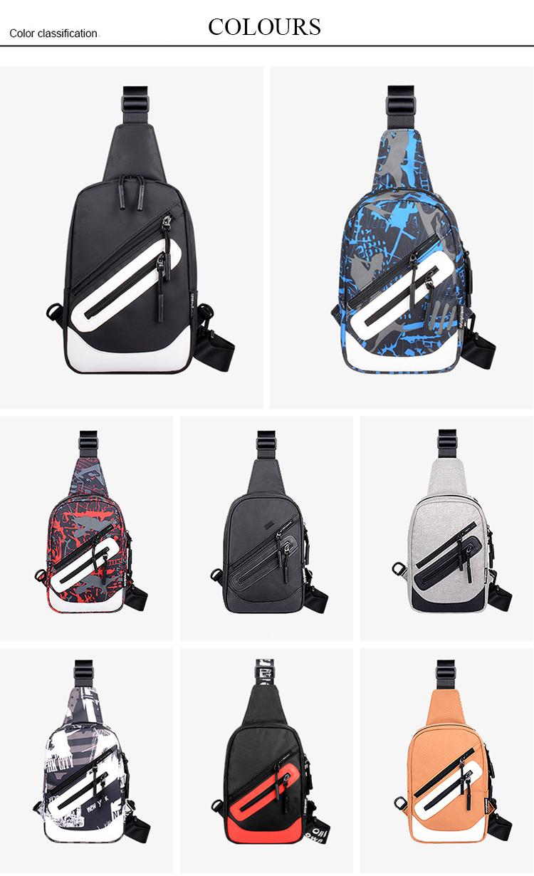 La Plazeite personalized pattern custom logo usb korean fashion mini chest crossbody sport man sling bag