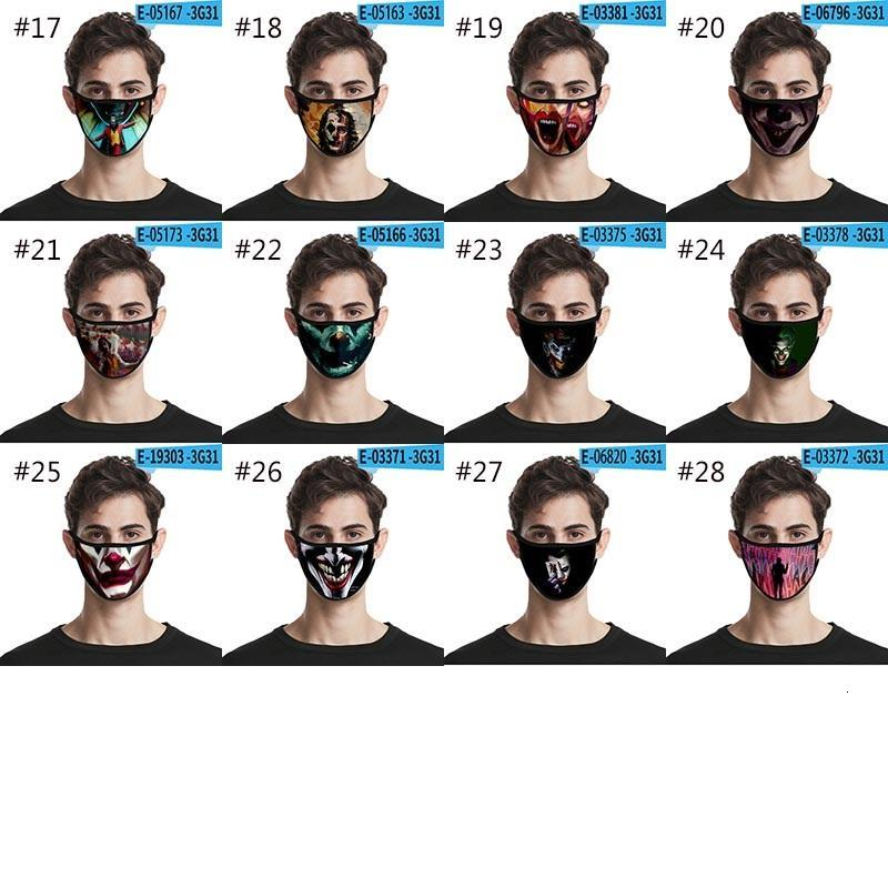 28 Style Designer Face Mask 3D Joker Clown Skull Print Mask Washable Dustproof Fashion Protective Mask HH9-3185