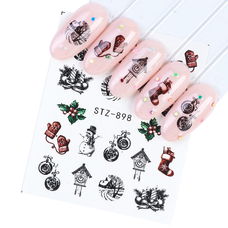 12pc Christmas Nail Art Sticker Full Wraps Set New Year Decal Winter Snowflake Snowman Elk Manicure Nail Decoration 3