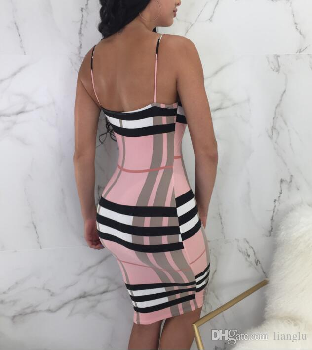Plaid Print Womens Summer Bodycon Sexy Dresses Scoop Neck Sleeveless Backles Casual Clothing Night Club Beach Style Apparel