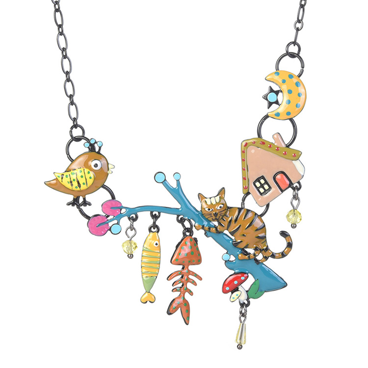 Cring Coco Yellow Enamel Cat Pendants Cute Fish Bird Animals Black Alloy Chain Necklace DressJewelry for Women Charm Necklaces