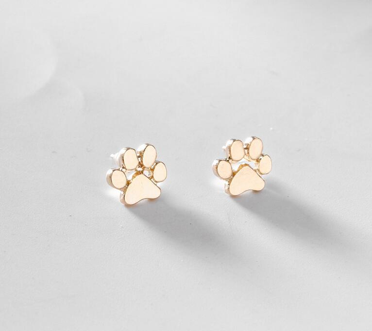 NEW pet cat dog lover paw print stud earrings Puppy Memorial Minimalist earring cute animal footprint gold silver plated earrings