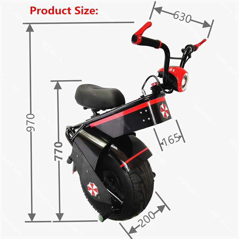 Electric Scooter 1500W One Wheel Self-balancing Scooter Motorcycle Seat 110KM 60V Electric Monowheel Scooter 18 Inch Wide Wheel (8)