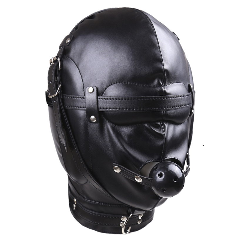 Sex Toys Headgear With Mouth Ball Gag BDSM Erotic Leather Sex Hood For Men Adult Games Sex SM Mask For Couples