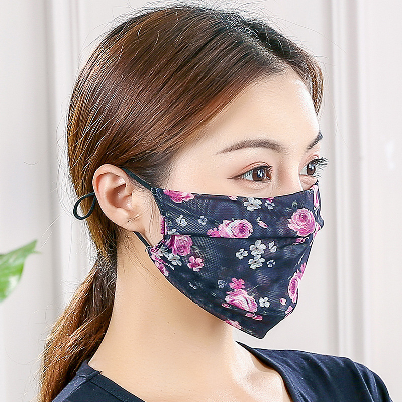 Lady Sunproof Mouth Mascherine Anti Dust Reusable Respirators Breathable Chiffon Face Mask Protective Man Double Deck Fashion Cloth 3 1as B2