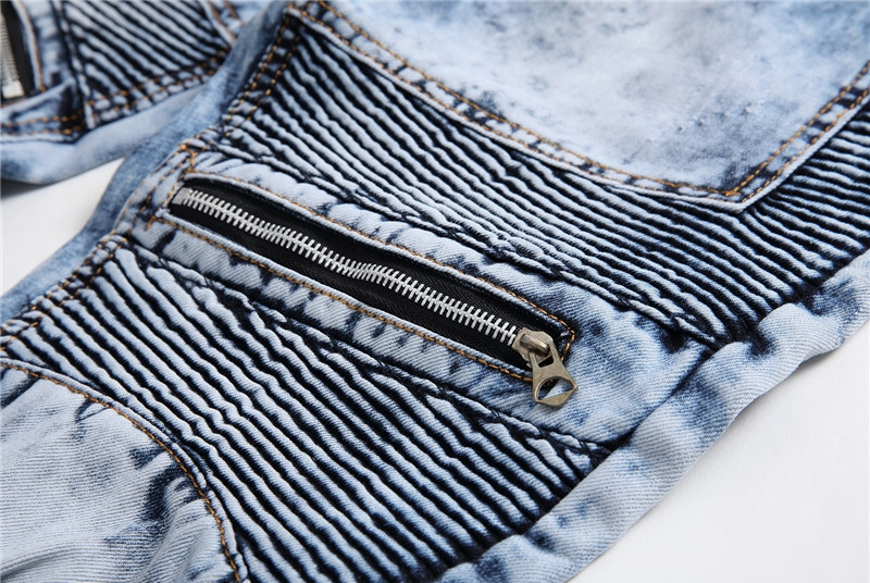 Newsosoo Casual Motocycle Men Jeans Slim Fit Bike Pleated Denim Pants Trousers For Male Straight Washed Multi Zipper jeans pants18