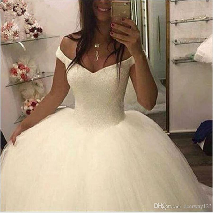 Shining Luxury Straps White Crystals Ball Gown Wedding Dress Beading Tulle Vestido De Noiva Bridal Gowns Wedding Gowns