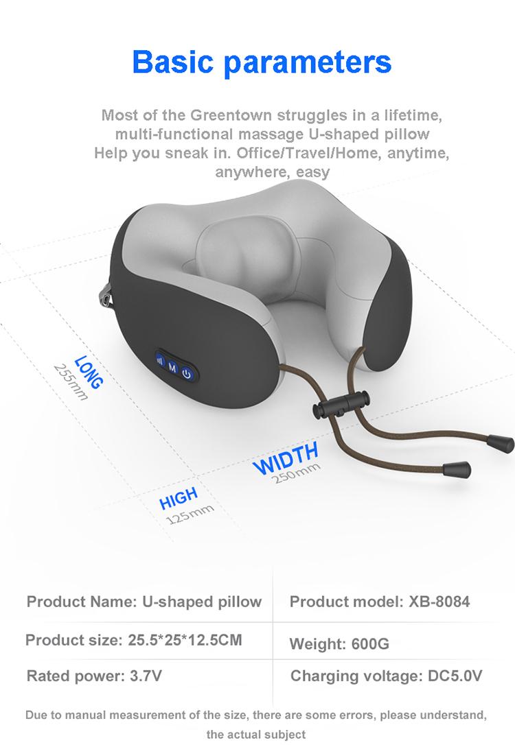 U-shaped Vibration Massage Pillow electric vibration massage pillow travel pillow protect neck massage