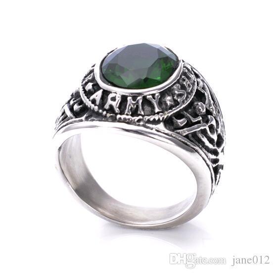Size 7-13 Retro Titanium Steel US Soldier Army Green Blue Gemstone Rings for Men Women Best Gift