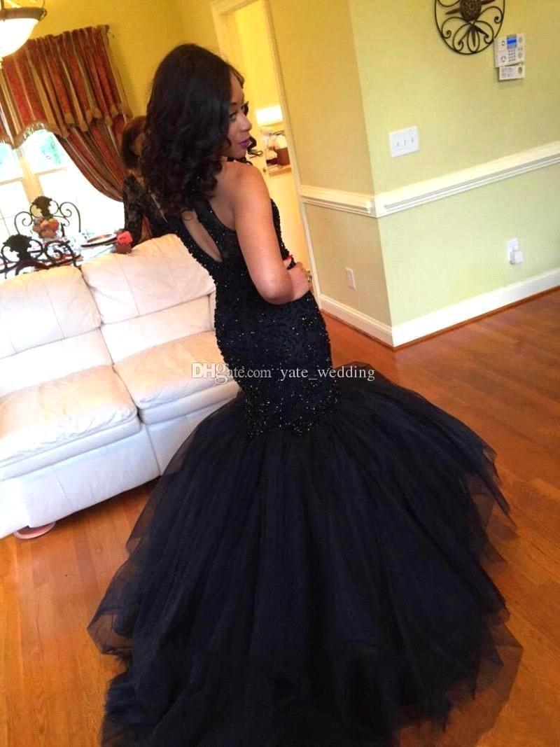 2018 Elegant Black Mermaid Prom Dresses Beading Tulle Navy Blue Mermaid Evening Gowns Light Pink Homecoming Dresses