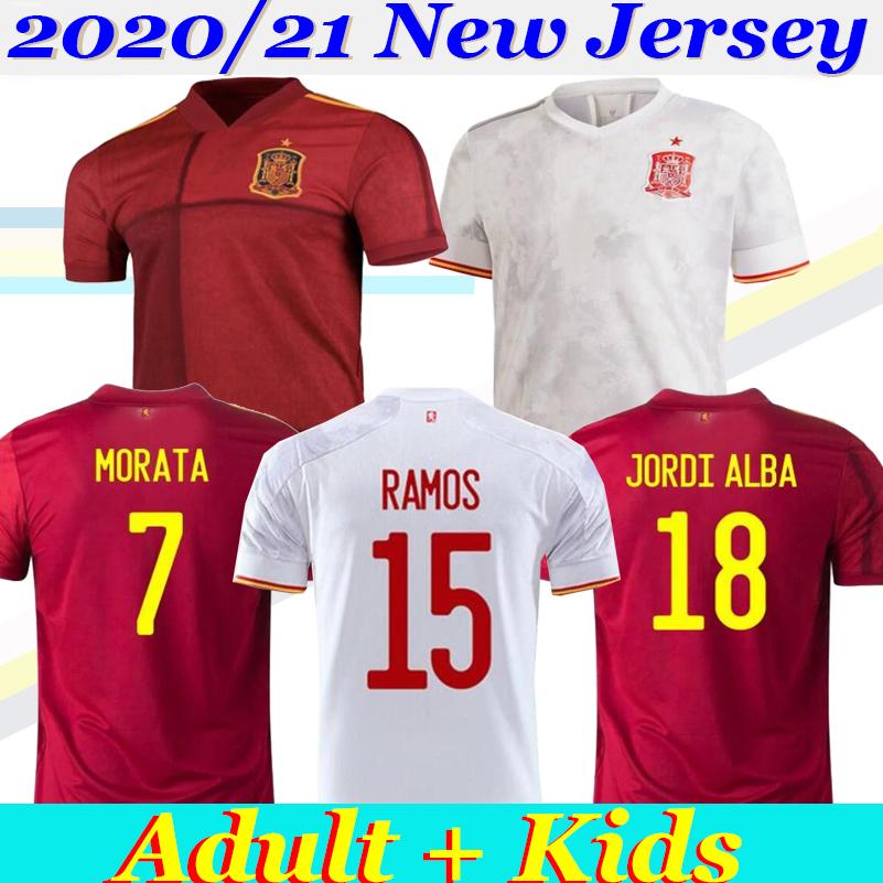2021 European Cup Spain Jerseys home Away Soccer Jersey Spain home soccer shirt 20 21 RAMOS MORATA ISCO A.INIESTA ASENSIO Football uniforms