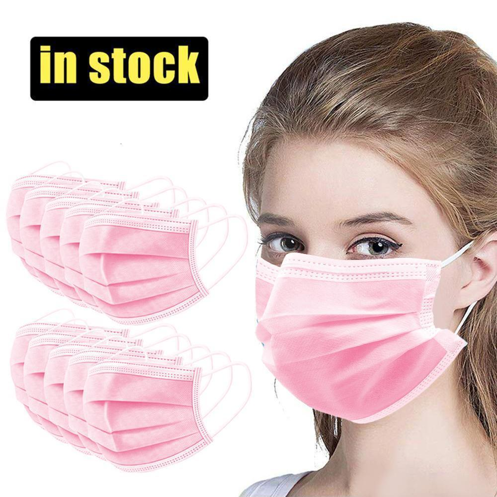 2020 NEW Quick Send Disposable Face Masks 3-Layer Dustproof Mouth Anti PM2.5 Safety Masks Men Women Pink Disposable Face Masks