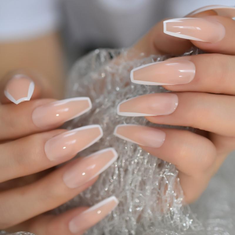 EchiQ Everlasting French Nails White Fashion Designed Extra Long Ballerina Shaped Fake Nails Nude Salon Quality Tips