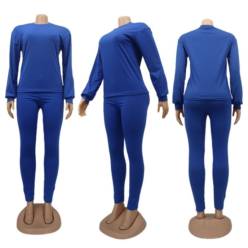 Fall Winter womens plus size clothing 2 two piece tracksuits Solid color sweater leggings pants trousers outfits set sweatsuits clothes