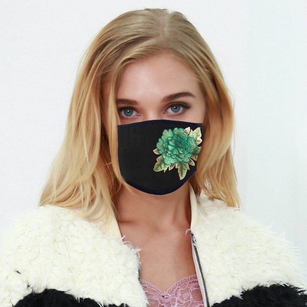 New 4 Styles Embroidered Cloth Face Mouth Mask Reusable Anti-Dust PM2.5 Washable Running Riding Outdoor Protective Masks In Stock