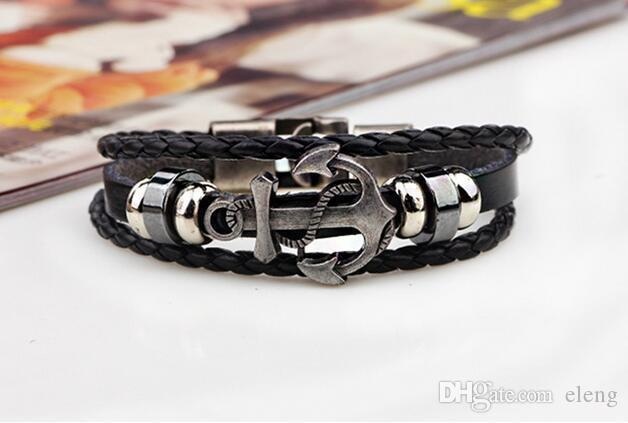 HOT 2018 Newest Fashion Genuine Leather Wrap Black Cowhide Braided Bangles Charm Retro Lover Bracelets nautical bracelets Free Delivery 0103