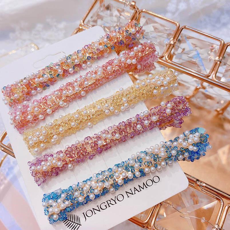 Ins colorful crystal women hair clips fashion pearl girls designer hair clips hair accessories for women BB clips Barrettes B1597