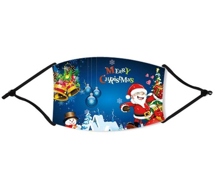US Stock Cotton Printed Santa Claus Merry Christmas Masks Xmas Face Masks Anti Dust Mouth Cover Washable Reusable With Filter Party Masks