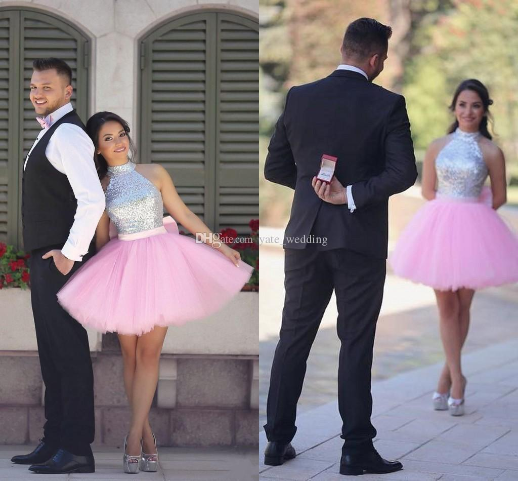 Lovely Pink Short Homecoming Dresses High Neck Halter Sequins Silver Puffy Skirt Cocktail Party Dresses Sparkly Arabic Indian Prom Dresses