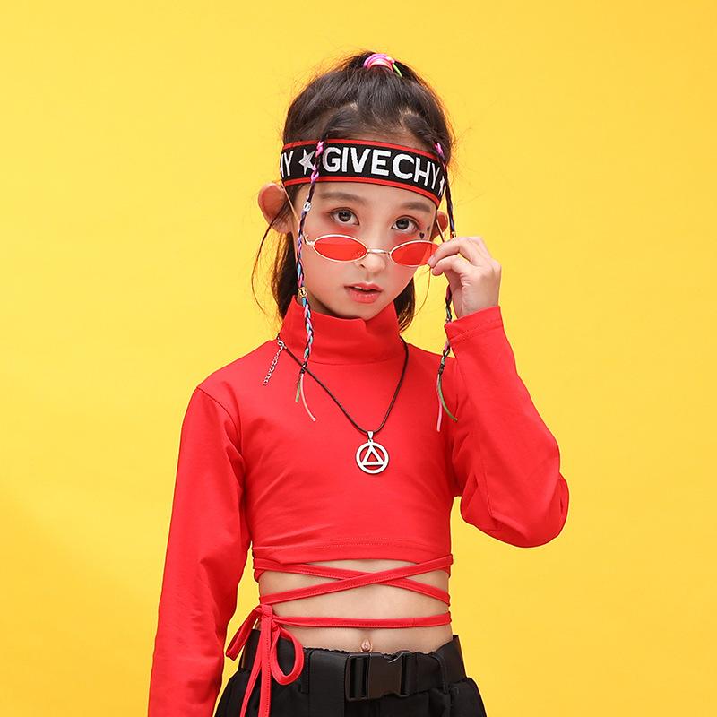 Kids Hip Hop Clothing High Neck Sweatshirt Shirt Top Crop Black Running Casual Pants for Girl Jazz Dance Costume Dancing Clothes (7)