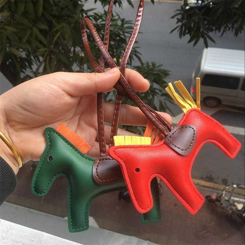 Design Keychains Fashion Horse Animal Keyrings Key Chains PU Leather Cartoon Tassel Bag Purse Charms Cute Key Rings Accessories