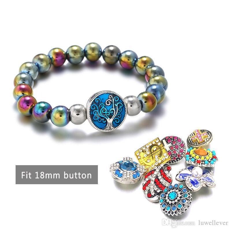 Hot 061 Interchangeable Candy Colors Expandable Beaded Stretch Stone Bracelet 18mm Snap Button Strand Bangle For Women Gift