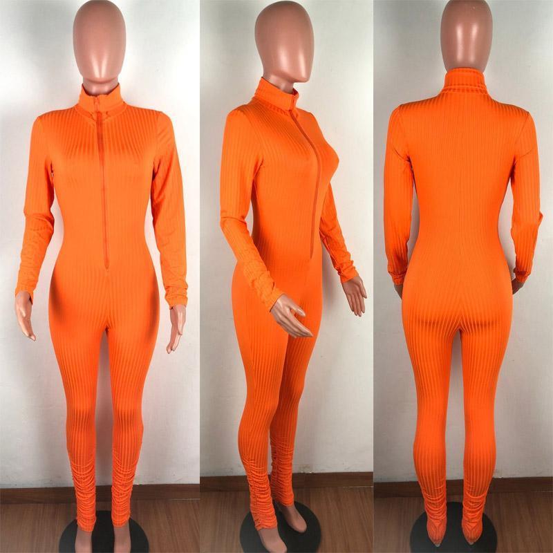 womens pit striped jumpsuits Bodysuit zipper long sleeve tops leggings pants skinny rompers nightclub Onesies fall sportswear clothing