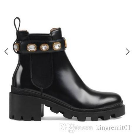 Woman's Leather shoes factory direct female rough heel round head Lace up Ribbon belt buckle ankle boots autumn winter Martin BootsSIZE35-42