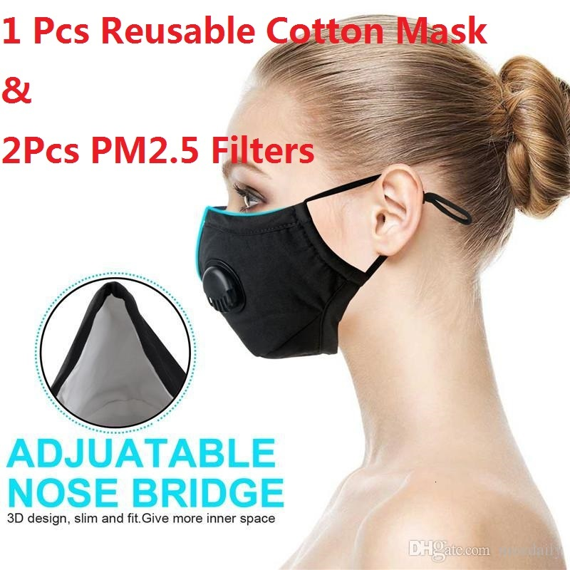 Free DHL Reusable Cotton Face Masks Anti-Dust, Pollution Allergies Face Shield Adjustable Cycling Masks with 2 Disposable PM2.5 Mask Filters