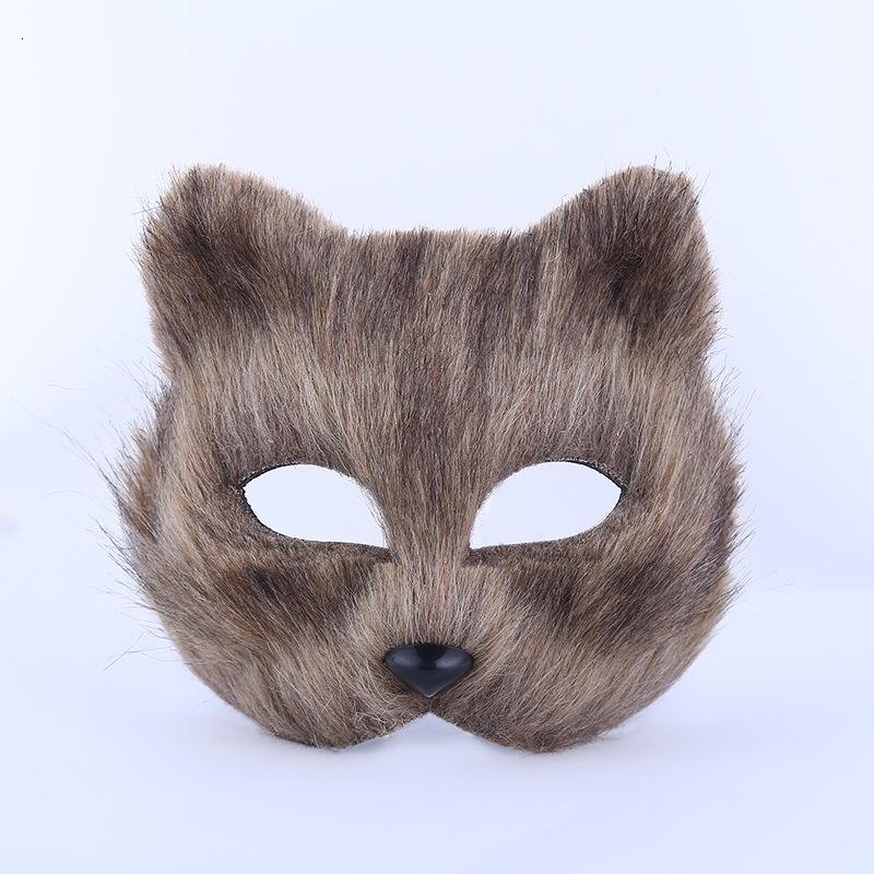 Halloween masquerade party masks animal man and woman half face mask hairy sexy fox mask
