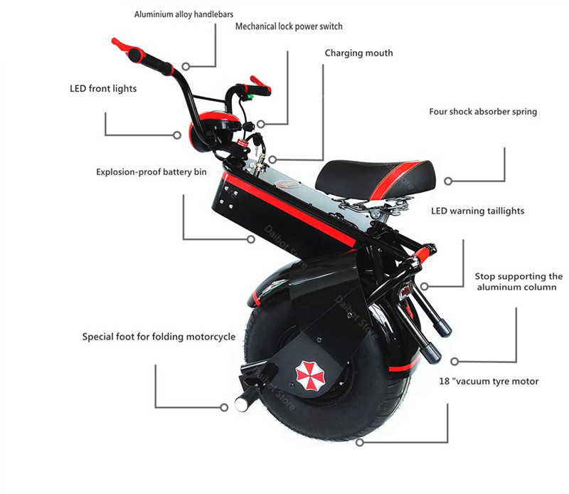Electric Scooter 1500W One Wheel Self-balancing Scooter Motorcycle Seat 110KM 60V Electric Monowheel Scooter 18 Inch Wide Wheel (10)