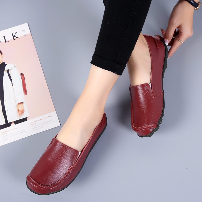 2020 Spring Autumn Plus Size Casual Round Toe Women`s Shoes New PU Leather Flat Shoes Comfortable Slip-on Ladies Flats VT998 (16)