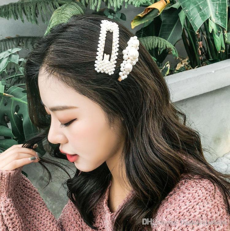 Fashion Jewelry Metal Gold Color Pearl Hair Clips Sweet Barrette Hairband Beautiful Hairpin Headdress Women Girl Lady Hair Accessories