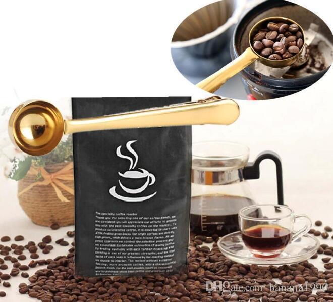 Food Grade 304 Stainless Steel Spoon Coffee Scoop Table Bag Clip Multifunction Kitchenware Good Helper Tools