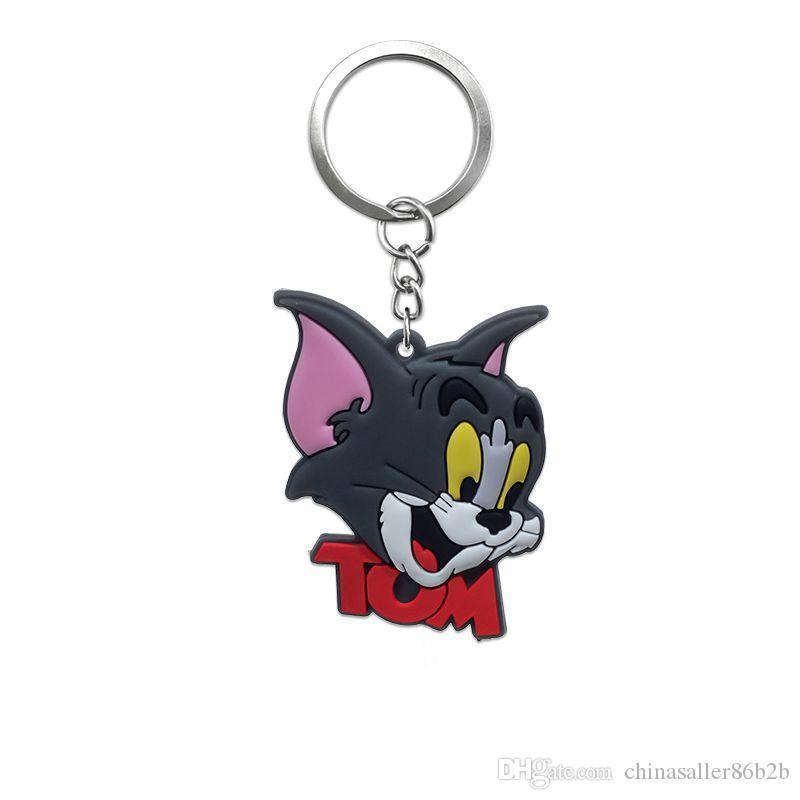 MOQ=Tom and Jerry Metal Key Chains Cute Cartoon Soft Key Ring PVC Anime Figure Keychain Car Key Holder Fashion Accessories wholesalers