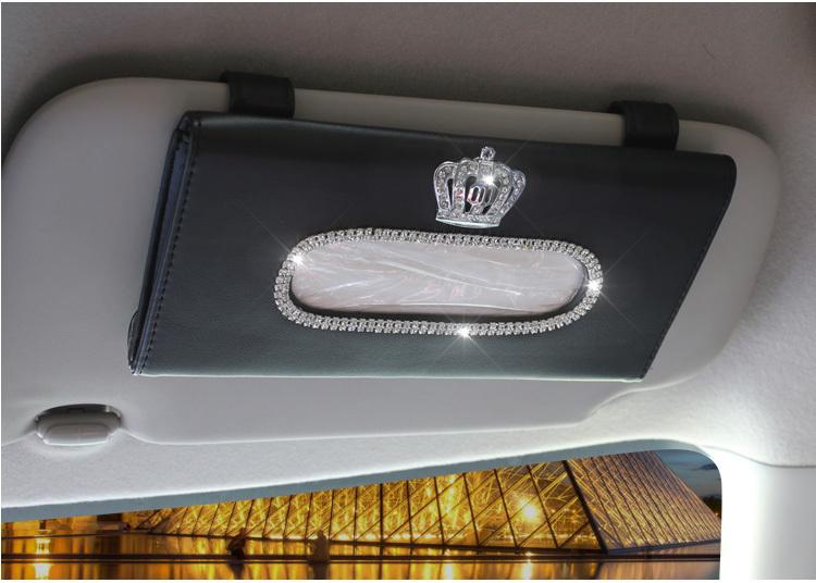 Cute-Crystal-Car-sun-visor-Tissue-box-Auto-accessories-holder-Paper-napkin-clip-PU-leather-Case-e