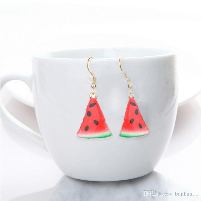Fashion fruit shaped earring lovely fruit apple watermelon strawberry kiwi earring for woman and girl