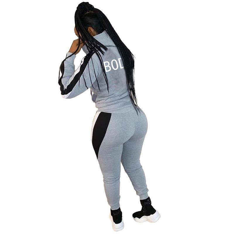 womens hoodie legging two piece set outfits long sleeve tracksuit jacket pants sportswear panelled outerwear tights sports set hot klw5018