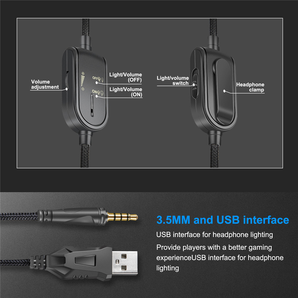 3.5mm Gaming Headphones casque Stereo Earphone Headset with Mic LED Light for Laptop Tablet PS4 Gamepad (12)